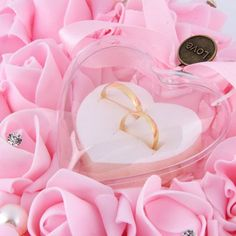 Especially For you White Rose Pearl Heart Wedding Pocket Ring Pillow Cushion SY