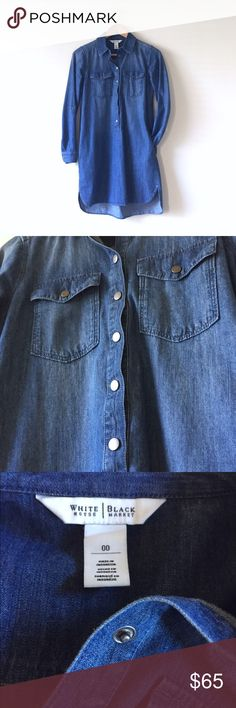 WHBM denim shirt dress Size 00. Has hidden pockets. Button-up design with roll-up sleeve buttons. Super comfy and cute. White House Black Market Dresses High Low
