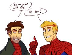 The two Peters! Marvel Funny, Marvel Memes, Marvel Dc Comics, Marvel Avengers, Deadpool And Spiderman, Spiderman Art, Spider Verse, Tom Holland, Spideypool