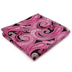Designer Einstecktuch aus Seide rosa schwarz paisley