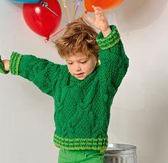Детский джемпер с «косами» и полосатыми планками - схема вязания спицами. Вяжем Джемперы на Verena.ru