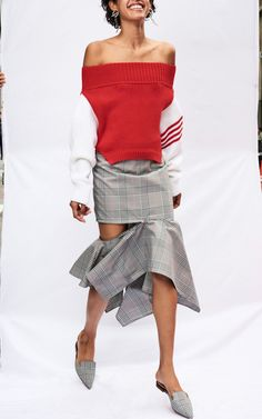 Monse R18 - Upside Down Cropped Knit €912, Glen Plaid Zip Trumpet Skirt €954, Glen Plaid Mule €846