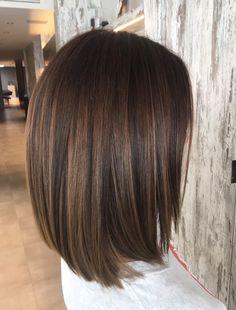 Medium Hair Cuts, Medium Hair Styles, Short Hair Styles, Brown Balayage Bob, Balayage Hair, Brown Bob Hair, Dark Hair, Bob Hairstyles For Round Face, Hair Color And Cut