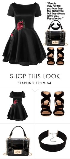 """Pay attention."" by oliverab ❤ liked on Polyvore featuring Gianvito Rossi, rose, velvet and rosegal"