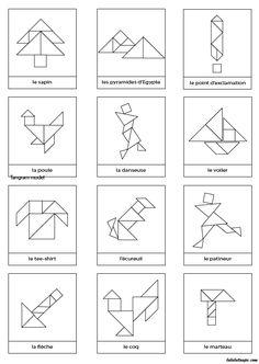 Dessins en noir et blanc à imprimer pour jeu Tangram