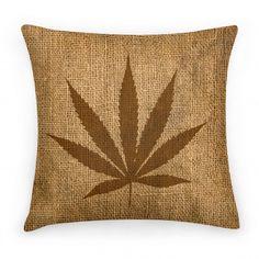 Faux Burlap Weed Pillow   HUMAN