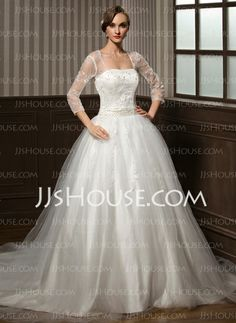 Wedding Dresses - $198.99 - Ball-Gown Sweetheart Chapel Train Satin Tulle Wedding Dress With Lace Beadwork Sequins (002008173) http://jjshouse.com/Ball-Gown-Sweetheart-Chapel-Train-Satin-Tulle-Wedding-Dress-With-Lace-Beadwork-Sequins-002008173-g8173
