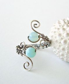 Peruvian Opal Wire Ring, Aqua Wire Wrapped Ring, Adjustable, Oxidized Sterling Silver Wire Weave Ring on Etsy, $47.00