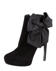 Bow-Ankle+Suede+Bootie,+Black+by+Alexander+McQueen+at+Bergdorf+Goodman.