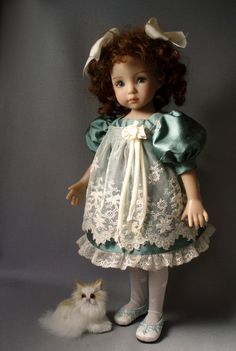 "Silk & Antique Lace DRESS 13"" Dianna Effner Little Darling Dolls House-of-Bleus"