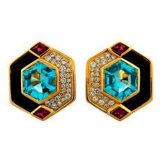 1STDIBS.COM Jewelry & Watches - Marina B - MARINA B Aquamarine, Black Onyx, Diamond, Ruby & Gold Earrings - Nadine Krakov Collection