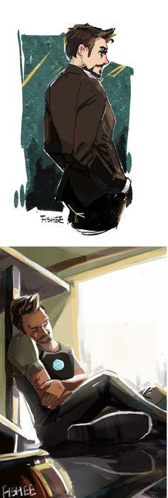 Two sides of Tony Stark (Iron Man) - Billionaire Playboy and Philanthropic Genius.