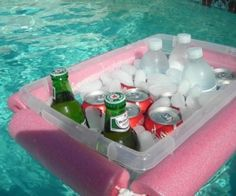 Simple DIY Floating Pool Cooler: cut a pool noodle floatie and tie a rope through it, around a Rubbermaid bin.