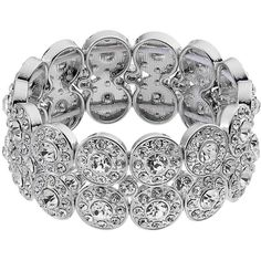 2-Row Simulated Crystal Halo Stretch Bracelet ($18) ❤ liked on Polyvore featuring jewelry, bracelets, fake jewelry, stretch jewelry, artificial jewelry, sparkle jewelry and crystal jewellery