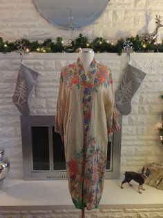 Vintage 1920s Gatsby Era - Art Deco Silk Robe Lingerie Kimono