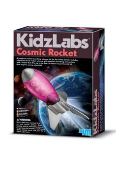 Includes a booklet of fun rocket science detailed launching instructions and a rocket that flies up to 50 feet. A unique experimental kit that inspires young scientists. Contains 1 transparent rocket body (15 cm tall when assembled) 3 rocket fins 1 connecting ring 1 launching station pad 1 measuring spoon & 1 fun rocket science booklet with detailed launching instructions and safety rules for rocket launching.  Cosmic Rocket Kit by 4M. Home & Gifts - Gifts - Gifts by Occasion - Baby & Kids…
