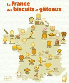 Baked goods in France. Shows a geographic map of France and it's baked goodies. French Teaching Resources, Teaching French, Cigarette Russe, French Education, French Classroom, French History, Reims, French Teacher, French Language Learning