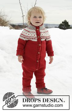 Miss Pantsy-Pants / DROPS Children - Knitted onesie for children with round yoke in DROPS Merino Extra Fine. The piece is worked top down with Nordic pattern. Baby Knitting Patterns, Free Baby Patterns, Christmas Knitting Patterns, Knitting For Kids, Easy Knitting, Jumpsuit Pattern, Pants Pattern, Drops Design, Jumpsuit For Kids