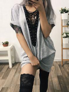 Wolfie Lace Up T-Shirt Dress (GREY)