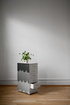 """Removable, self-adhesive wallpaper. Drawer unit Helmer, Ikea. Scallops wallpaper, design Klara Bothén. """"Curated by Fine Little Day"""" collection. A collaboration with Swedish Photowall."""