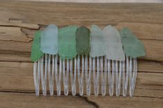 Shades of Green and Aqua Sea Glass Hair Comb Perfect for Bride