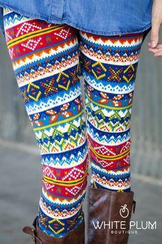 Tribal Multi-Color Leggings | White Plum Boutique $22