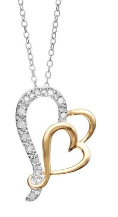1/10 Carat T.W. Diamond 18k Gold Over Silver & Sterling Silver Heart Pendant Necklace #LoveKohls