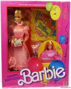1984 Happy Birthday Barbie. I'd forgotten about her!  Omg I loved that sheer pink polka dotted. One of my favorite Barbie dresses!