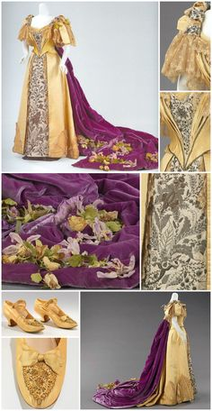 Court presentation ensemble, possibly by Worth, at the Met. Emily Warren Roebling, who helped supervise the construction of the Brooklyn Bridge, wore this gown and pair of shoes for her formal presentation to Queen Victoria. Edwardian Gowns, Victorian Gown, Victorian Costume, 1890s Fashion, Edwardian Fashion, Vintage Fashion, Historical Costume, Historical Clothing, Vintage Gowns