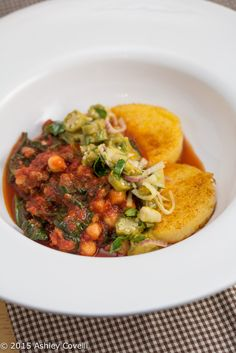 Chorizo & Chickpea Ragú with Crispy Polenta & Pickled Okra Bee Pollen Relish Recipe + Giveaway | Big Flavors from a Tiny Kitchen