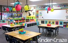 kindergarten classroom and bright library organization