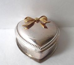 Small Heart Shaped Trinket Box Silver Tone with Gold Bow