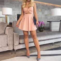 Slim Sling Sleeveless Pink Dress Pink Party Dresses, Hoco Dresses, Sexy Dresses, Cute Dresses, Beautiful Dresses, Dress Outfits, Cute Outfits, Dresses With Sleeves, Fashion Outfits