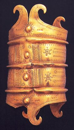 Golden armlet with rich cosmological symbols, Dunavecse, Hungary. photo: courtesy of the National Museum  Bronze Age  (14-1200 BCE)