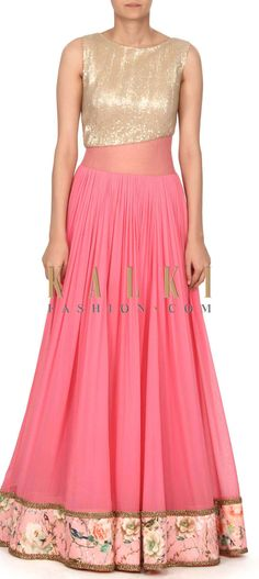 Buy this Pink dree embellished in sequin and floral print only on Kalki