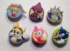 Sonic the Hedgehog Rush 6pc Shoe Charms Cake Toppers Embellishments by GroovyDeals on Etsy