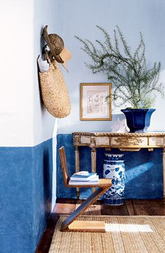 Anchor Blue from Ralph Lauren Paint creates a chic, casual wainscoting effect when it's applied beneath Brilliant White.