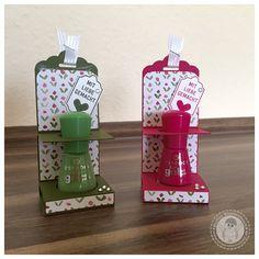 Stampin' Up! - Nagellack Verpackung - Bellas Stempelwelt - Wassermelone & Waldmoos, Designerpapier Englischer Garten