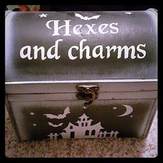 Hexes jewelry box Hexes and charms wooden jewelry box.  Halloween  Bats Witchy  Witch Goth Jewelry box Haunted  Wiccan Accessories