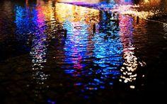 Streets lights wet pavement bokeh reflections wallpaper background
