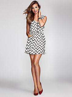 Zig-Zag Striped Dress   GUESS.com