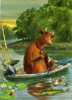 "Mamma Mu is fishing The books ""Mamma Mu and the crow"" are written by Juija Wieslander and illustrated by Sven Nordqvist"