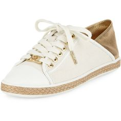 MICHAEL Michael Kors Kristy Lace-Up Low-Top Sneaker (395 RON) ❤ liked on Polyvore featuring shoes, sneakers, pale gold, lace up sneakers, metallic flats, sports trainer, sport shoes and lace up shoes