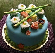I have searched the internet for the best versions of dessert sushi online - sushi cakes, sushi cupcakes and sushi candy. Check out the step by step guides on making dessert sushi at home. Crazy Cakes, Fancy Cakes, Mini Cakes, Cupcake Cakes, Food Cakes, Cupcake Ideas, Beautiful Birthday Cakes, Beautiful Cakes, Amazing Cakes