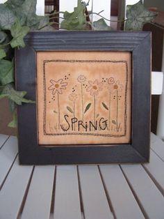 Primitive Stitchery Spring Flowers- spring, April, Easter decorating. $20.00, via Etsy.