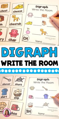 Kids love write the room! This is a digraph set including SH, TH, CH, WH, PH. Teaching Reading, Teaching Kids, Kids Learning, Reading Games, Literacy Stations, Literacy Bags, Literacy Centers, Kindergarten Centers, Preschool Kindergarten