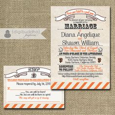 {Diana <3 Shawn} Giants Baseball Wedding Invitation & Response by digibuddhaPaperie, $50.00 https://www.etsy.com/listing/150208550/giants-baseball-wedding-invitation