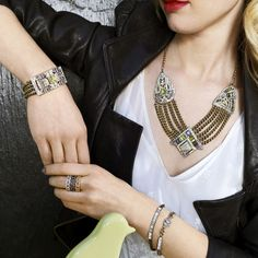 Absolutely stunning! Art Deco style with modern flair #fashion #jewelry #crystals http://ginamcclendon.chloeandisabel.com/