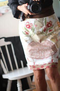 Cori Dantini art on a skirt!! I want this fabric!!! LOVE!!