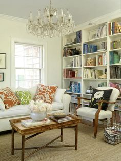 books grouped by color in bookcases add great color!